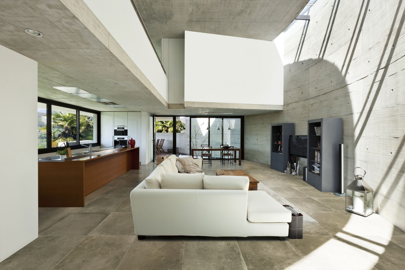 Beautiful modern house in cement interior living room